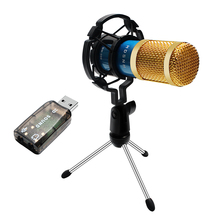 BM 800 Condenser Microphone Kit For Computer With Sound Card Shock Mount Wired 3.5mm XLR Cable Karaoke BM800 Mic Recording