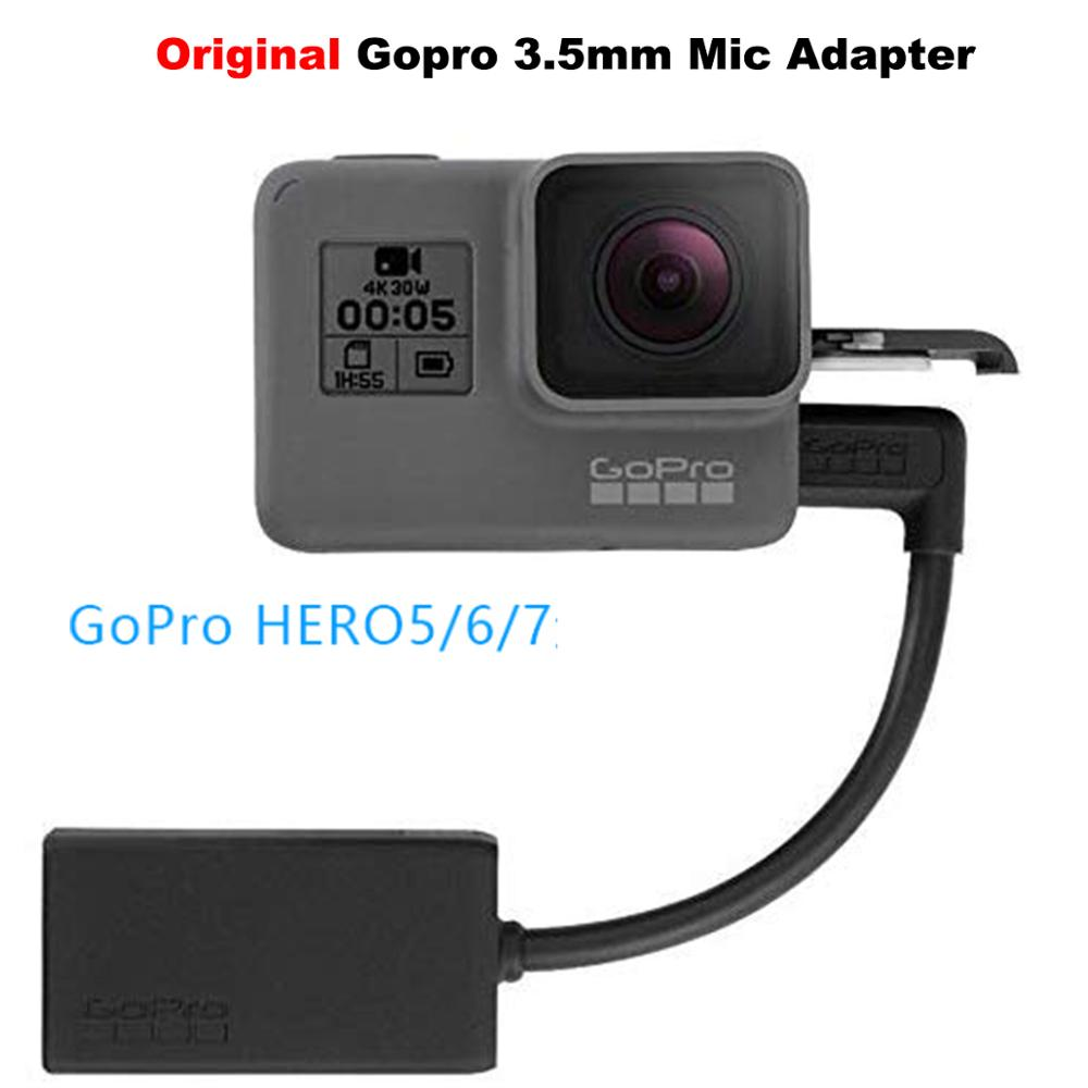 Original GoPro 3.5mm Mic Adapter for Gopro Hero 7 6 5 Black Microphone Adapter Gopro Accessory