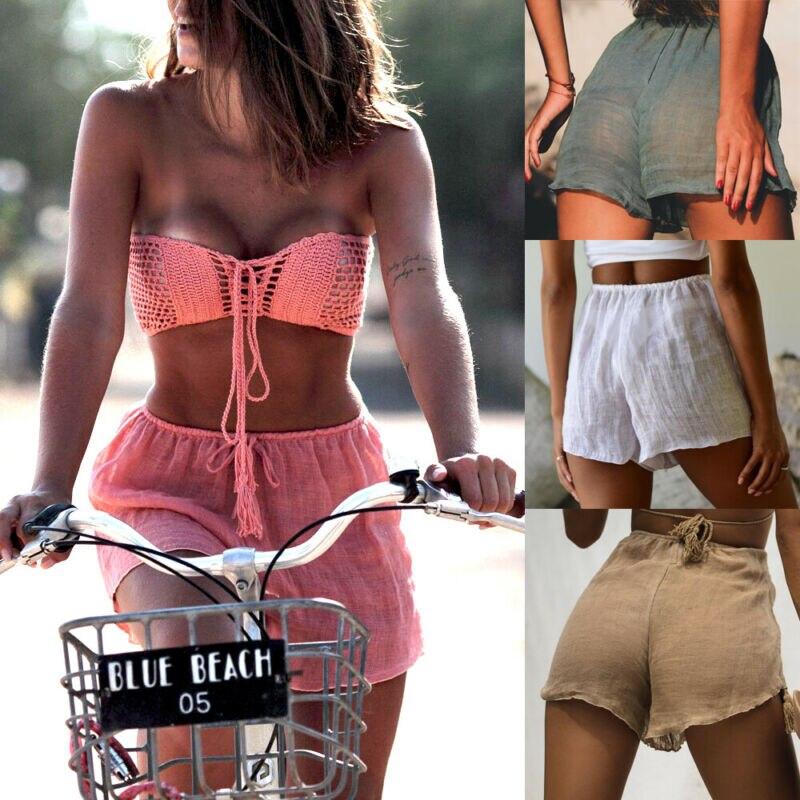 Sexy womens praia shorts verão solto casual mini calças sheer cover up roupa de banho