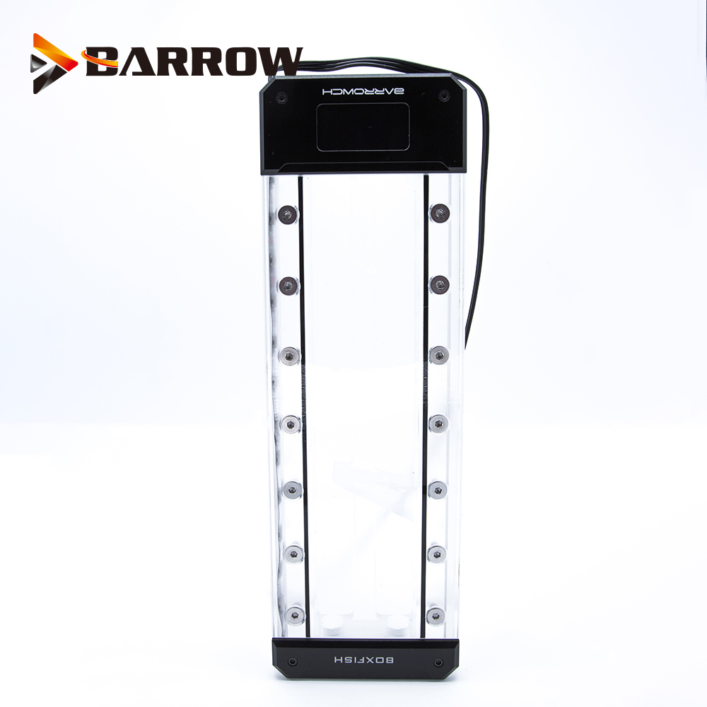 BARROW Length 150mm/200mm/250mm Reservoir Acrylic Square Intelligent Water Tank Magic Coolant PMMA Tank 5V Aurora Light to AURA-in Fans & Cooling from Computer & Office    1