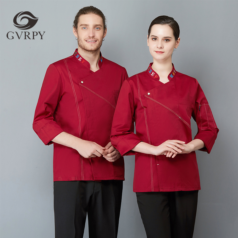Collar Embroidery Long Sleeve Chef Uniform Unisex Oblique Collar Overalls Catering Service Cafe Bakery Barber Shop Waiter Shirt
