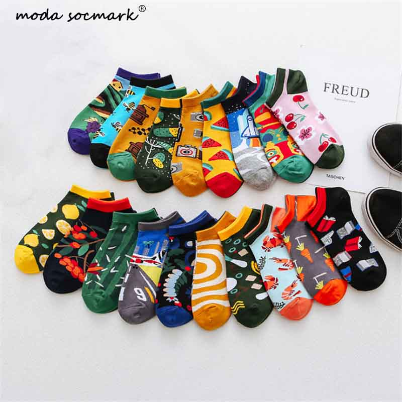 Moda Socmark Creative Funny Men's   Socks   Invisible Low Cut Ankle   Sock   Summer Casual Breathable Short   Socks   Unisex Coton &women