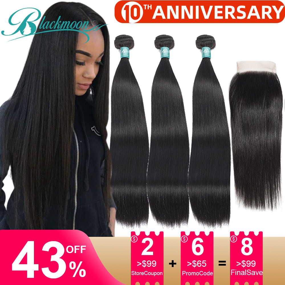Straight Hair Bundles With Closure Human Hair Bundles With Closure 3 Brazilian Hair Weave Bundles With Closure Remy Hair Tissage