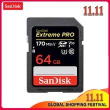 100% Sandisk Extreme Pro Cartão SD GB 64 32 GB Velocidade de Leitura até 170 MB/s Cartão SD Classe 10 u3 128 GB 256 GB Cartão De Memória Para Câmera