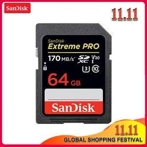 Image 1 - 100% Sandisk Extreme Pro carte SD 32 GB 64 GB vitesse de lecture jusquà 170 mo/s carte SD classe 10 U3 128 GB 256 GB carte mémoire pour appareil photo