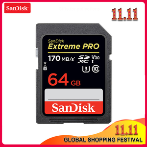 Image 1 - 100% sandisk extreme pro sd 카드 32 gb 64 gb 읽기 속도 최대 170 메가바이트/초 sd 카드 클래스 10 u3 128 gb 256 gb 메모리 카드 (카메라 용)