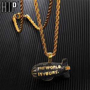 Hip Hop THE WORLD IS YOURS Blimp Gold Color Cubic Zircon Necklaces & Pendants For Men Jewelry With Tennis Chain