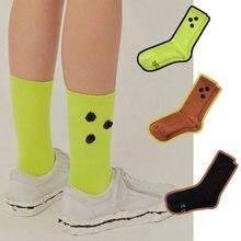 Meias de algodão, impressão de carta, costura ab botão bordado, meias ader, esportes respiráveis, moda de rua, meias de moda feminina