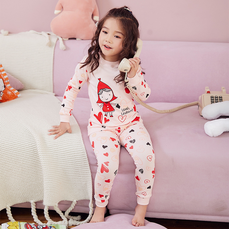 19 South Korea Spring And Autumn GIRL'S Underwear Pack Pure Cotton Children Thermal Underwear Men And Women Children Winter Paja