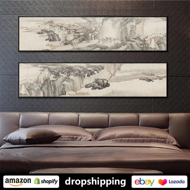 Chinese Style Ink Retro Landscape Posters Prints Canvas Paintings Wall Art For Living Room Decor For Bedroom Aesthetic Artwork Painting Calligraphy Aliexpress