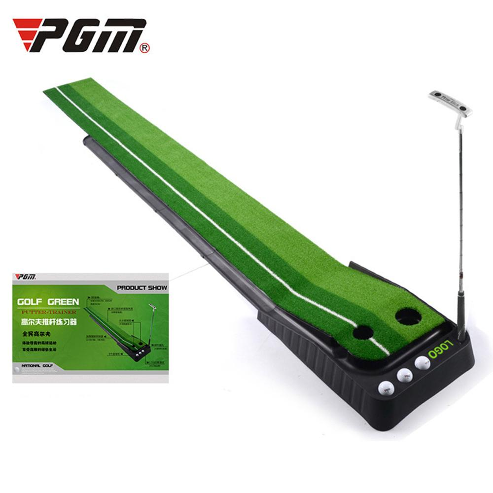 PGM Indoor Golf Putting Trainer Portable Golf Practice Putting Mat Golf Green Putter Trainer 2.5M/3M With/without Return Fairway