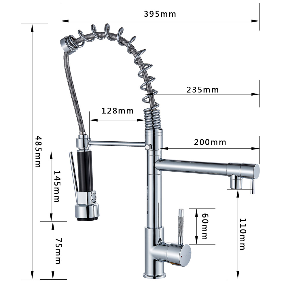 H55723f1e89894f26a103a3e33d78fe01S Rozin Black and Rose Golden Spring Pull Down Kitchen Sink Faucet Hot & Cold Water Mixer Crane Tap with Dual Spout Deck Mounted