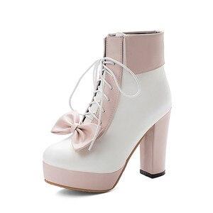 Image 5 - YMECHIC Mode 2019 Winter Lolita Schoenen Lace Up Hoge Hakken Platforms Leuke Boog Zoete Roze Paars Groen Geel Enkellaarsjes vrouwen