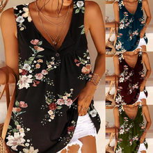 Women's Casual Temperament Sleeveless V-neck Blouse Floral Print Bohemian Beach Holiday Style Summer Women's Camisole Tops