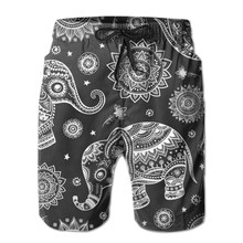 Swimming Shorts Swimwear Indian Lotus Ethnic Elephant African Tribal Swimsuit Man Beach Wear Short Pants Bermuda Boardshorts(China)