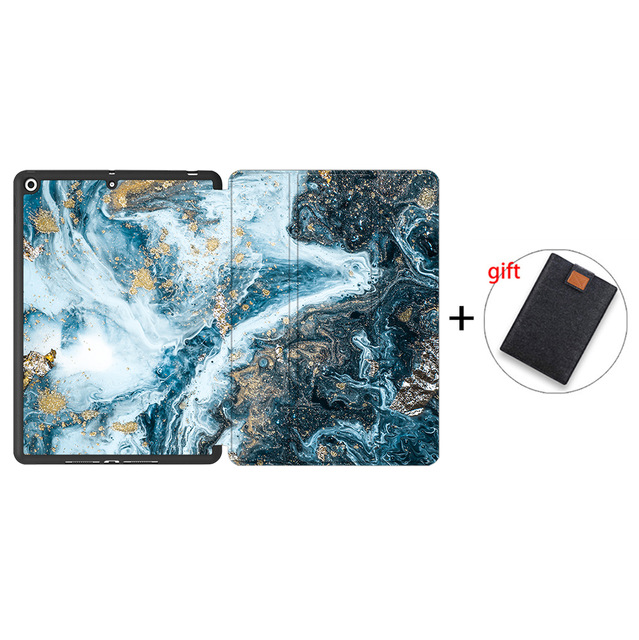 IPTPU09 Beige MTT Soft TPU Back Case For iPad 10 2 inch 7th 8th Gen Marble PU Leather