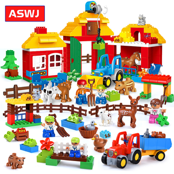 Big Size Building Blocks Happy Farm Mini Animal Figures Set For Kids DIY Gifts Compatible Duploe City Bricks Baby Toy Gift