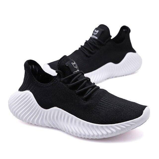 Zapatillas de correr para hombre, zapatos planos transpirables de malla de aire con cordones, informales 4