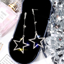 925 silver needle five-pointed star earrings Korea temperament long star pendant eardrop personality Joker earrings female цены онлайн