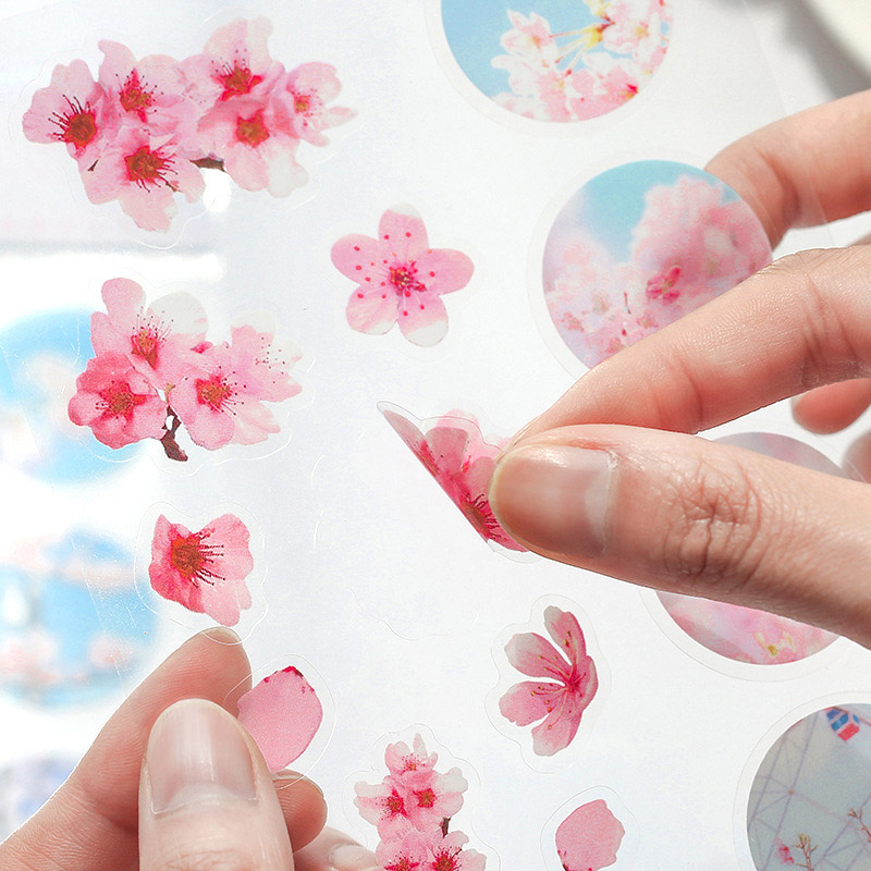 1Sheet Cute Decor Stickers Kawaii Flowers Stickers PVC Adhesive Sticker For Kids Scrapbooking Diary Supplies Creative Stationery