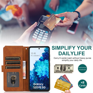 Image 2 - Luxury Zipper Wallet Case For Samsung Galaxy S21 S20 FE S10E S9 Ultra Plus Note 20 10 9 Leather Card Flip Stand Phone Bag Cover