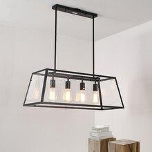 Lámparas LED Vintage, Retro, hierro, caja acrílica, luces colgantes, restaurante, Rectangular, sala de estar, cafetería, accesorios de iluminación