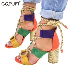 2020Women Sandals Lace Up Summer Shoes Woman Heels Sandals Pointed Fish Mouth Gladiator Sandals Woman Hemp Rope High Heels Shoes free shipping shoes woman 2018 summer flock brand ol high heeled woman sandals frosted with fish mouth ladies sexy sandals