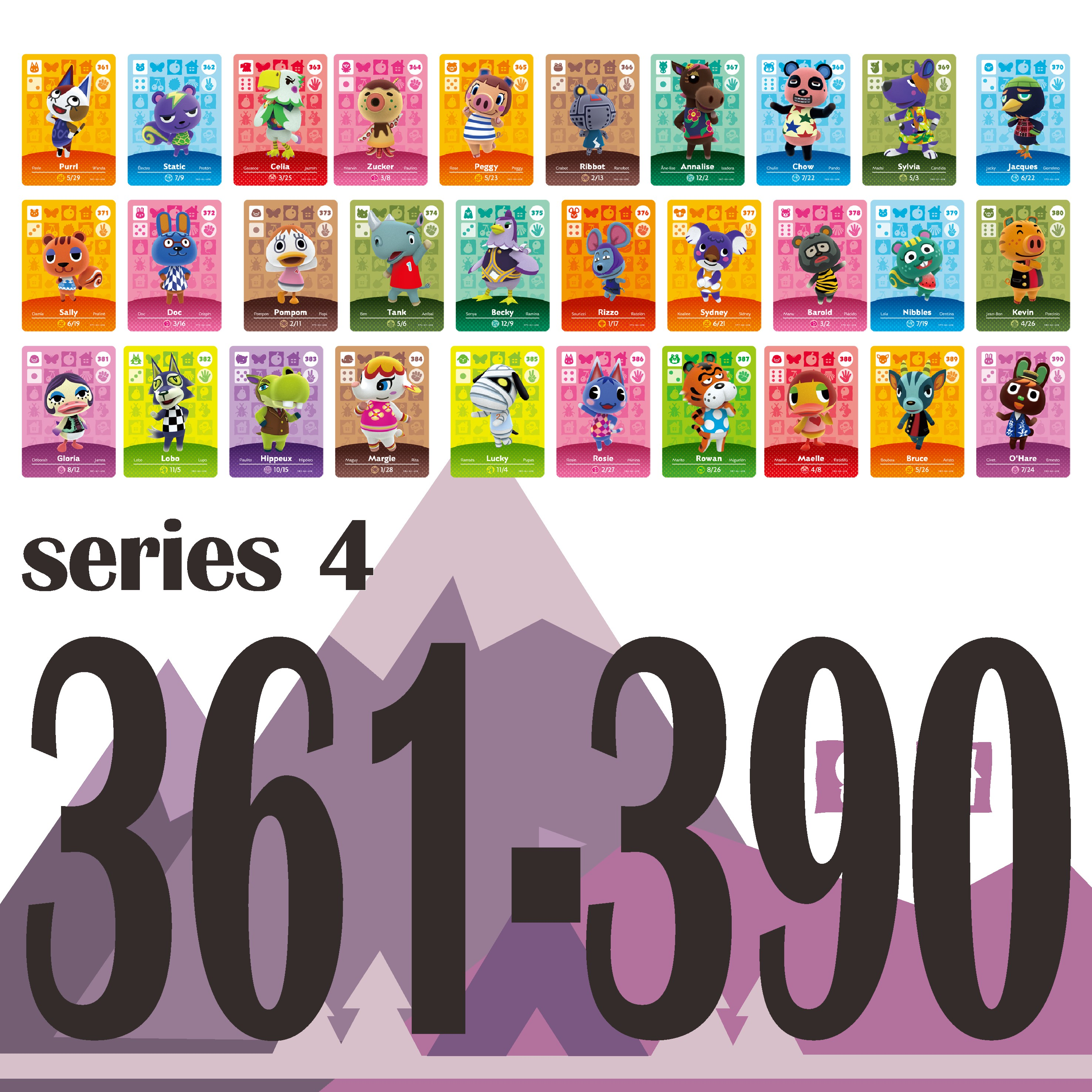 Animal Crossing Card Amiibo Card Work For NS Games Switch Rosie Welcome Stickers Amibo Ankha NFC Series 4 (361 To 390)