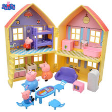 Hot Sale Peppa Pig George Pig Family Play House Animal Action Figure Model Educational Toys For Children's Birthday Gifts
