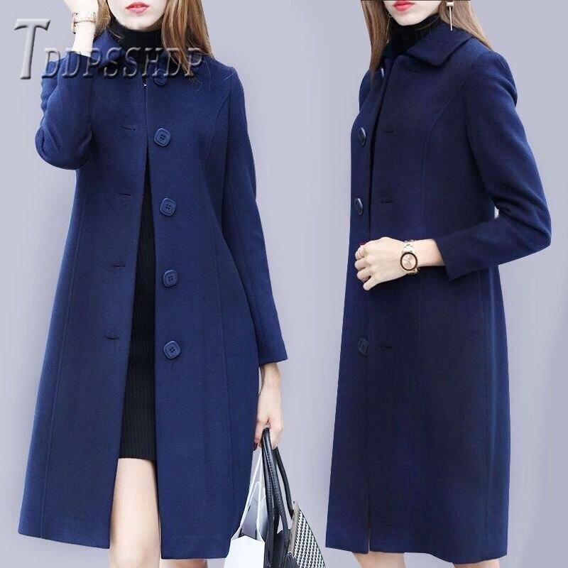 2019 Single Breasted Women Woolen Coat Long Style Plus Size Lapel Female Overcoat