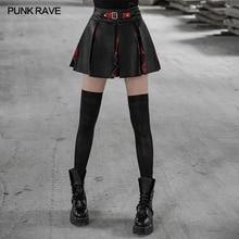 Панк RAVE Женская многокомпонентная строчка половина юбка заземленная красная клетчатая ткань OPQ450