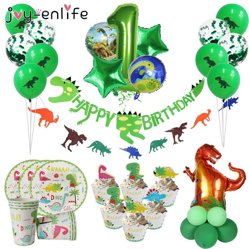 Dinosaure thème fête fournitures pour enfants garçons anniversaires décoration assiettes tasses rugissant Dino fête ballon support bébé douche décor