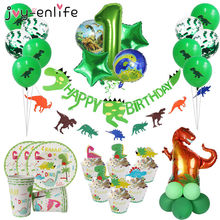 Dinossauro temático fontes de festa para crianças meninos aniversários decoração pratos copos ruaring dino festa balão suporte do chuveiro do bebê decoração