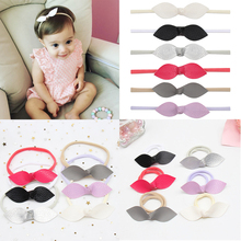 6Pcs/lot Soft Leather Bow Nylon Headband for Baby Girls Handmade Streched Elastic Head Band Princess Party Kids Hair Accessories