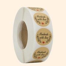 500 ручная работа с любовью наклейка s Скрапбукинг ручная работа этикетка ручной работы Свадебная наклейка s клейкая наклейка крафт круглые этикетки