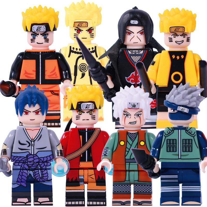 8Pcs/Set Heros Naruto Uzumaki Uchiha Sasuke Jiraika Hatake Kakashi Model Building Block Toys Gift Compatible Technic KF6078