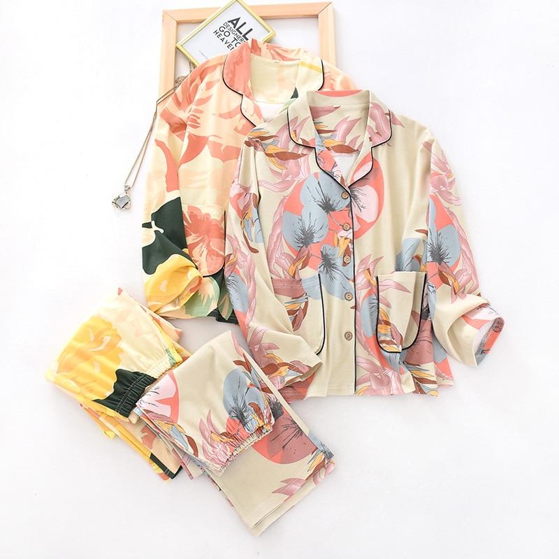 Spring New 100% Cotton Womens Pajamas Flowers And Leaves Printing Pijama Mujer Long Sleeve Knitting Cardigan 2 Piece Women Wear