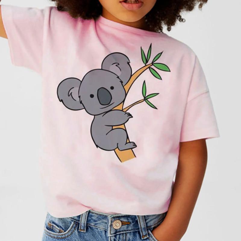 2021 модная одежда для мальчиков, футболка с рисунком коала и животных, детская одежда, одежда для девочек, одежда для маленьких мальчиков, Дет...