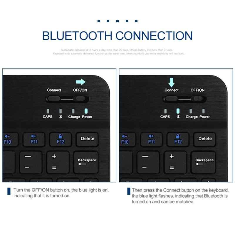 جديد سليم المحمولة بلوتوث لاسلكي مصغر لوحة المفاتيح لأجهزة الكمبيوتر المحمول اللوحي الهاتف الذكي لباد أبل ماك دعم IOS أندرويد الهاتف