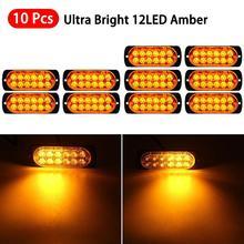 цена на 10pcs Amber LED Car Front Grille Deck Car Strobe Flash Lights Emergency Beacon Hazard Strobe lamp Warning Signal Lamp