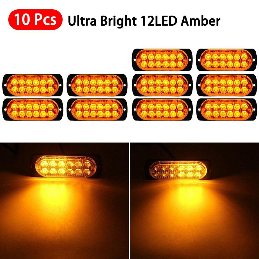 10pcs Amber LED Car Front Grille Deck Car Strobe Flash Lights Emergency Beacon Hazard Strobe lamp Warning Signal Lamp