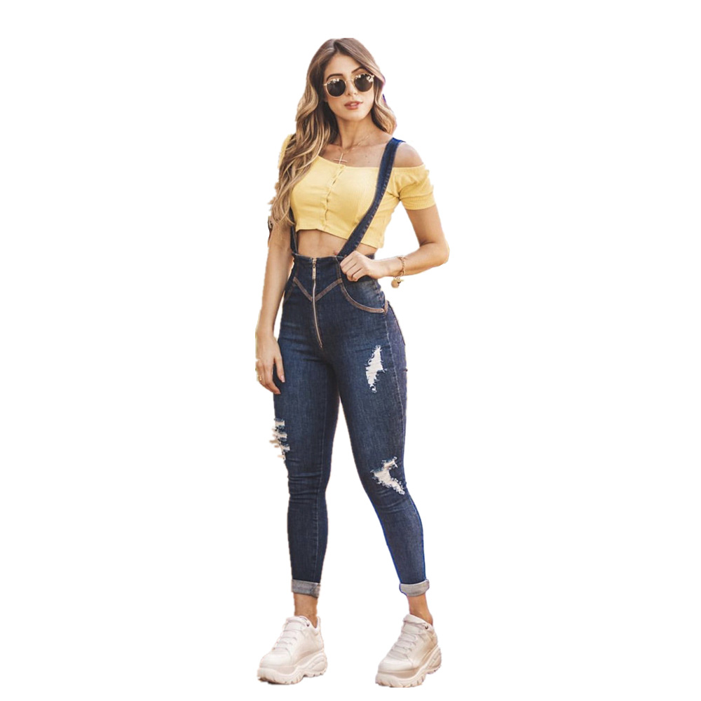Women's Fashion Solid Color Ripped Slim High Waist Ankle Length Denim Overalls Jeans Bodybuilding For Ladies Plus Size