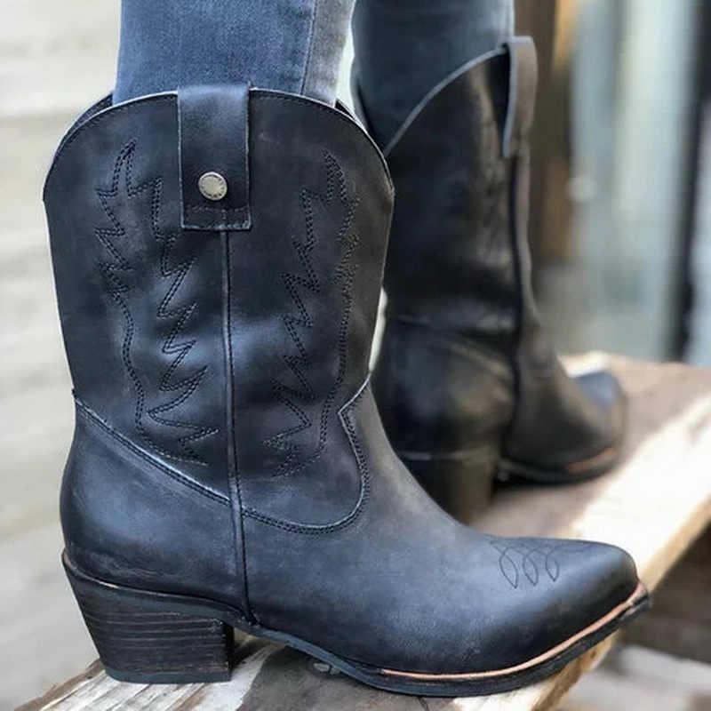 Untuk Wanita Bordir Western Cowboy Boots Wanita Mid Heels Wanita 'S SLIP ON Wanita Pertengahan Betis Boots Sepatu Wanita pasang Kaos Mujer
