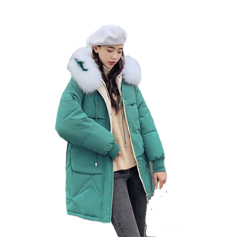 Fashion Korea Winter Outwear Women Elegant Green Cotton   Parka   Ladies Jacket Coat Casual Loose Warm Thick Hooded Pocket Jacket