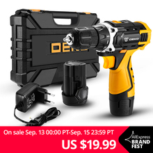 DEKO Cordless Drill Battery Power-Driver Banger Lithium-Ion Loner Mini DC 16V 12V 3/8-Inch