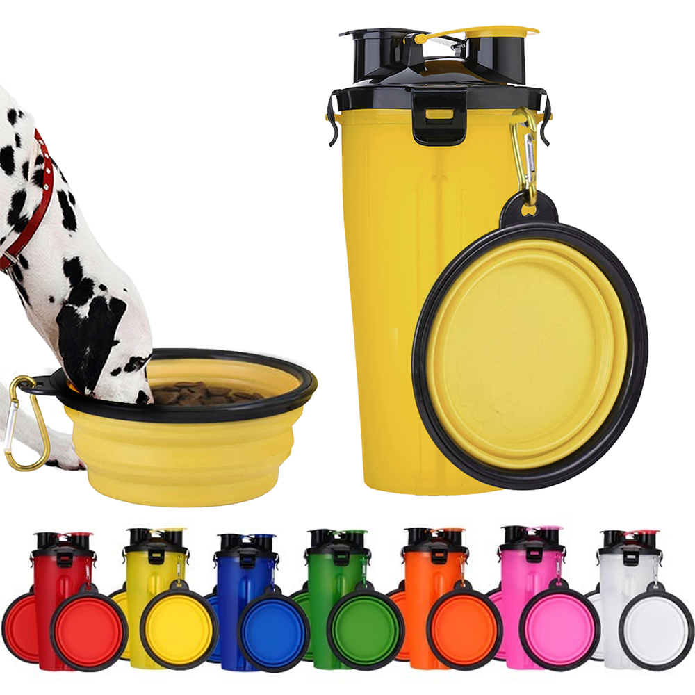 2 In 1 font b Pet b font Water Bottle Food Container Bowl Outdoor Travel Folding
