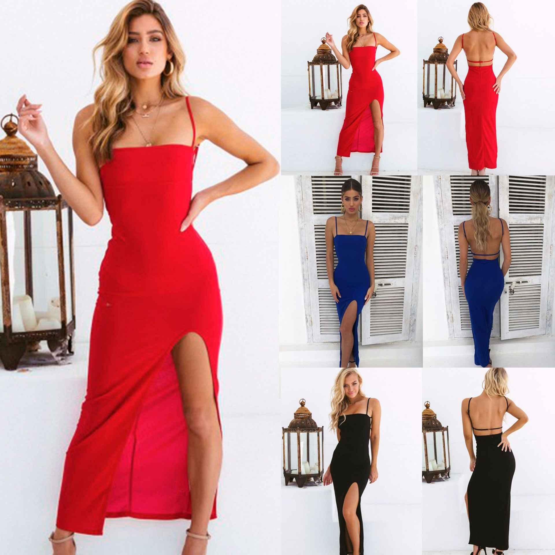 2019 Sexy na cienkich czarnych ramiączkach bez pleców, z wycięciem eleganckie lato długa obcisła sukienka sukienek letnia sukienka