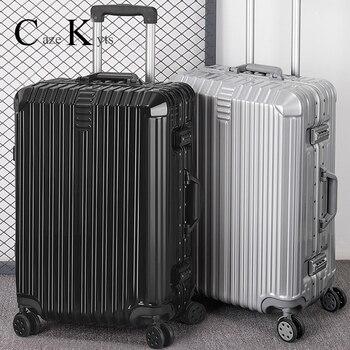 цена на Super fashion NEW luggage bag travel suitcase business luggage trolley case on wheel aluminum frame hardside Silent suitcase
