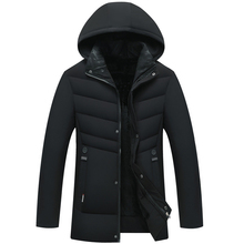 Autumn And Winter Cotton Clothes Long Section Large Size Warm Comfortable MenS Hooded Jacket Plus Velvet