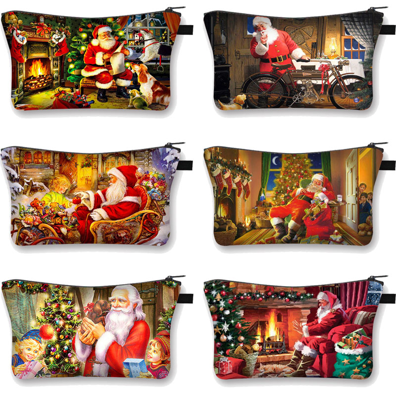 Christmas Series Makeup Women's Cosmetics Bag Santa Claus Organizer Cute Cartoon Purse Handbags Polyester Cotton Eco Storage Bag